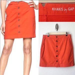 GAP Orange Khaki Button-Front Skirt With Pockets